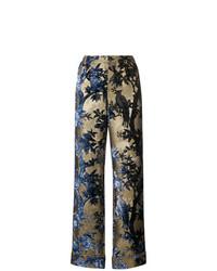 Pantalones anchos con print de flores dorados de F.R.S For Restless Sleepers