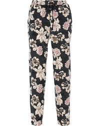Pantalones anchos con print de flores negros de Elizabeth and James