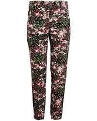 Pantalones anchos con print de flores negros de Givenchy