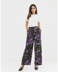 Pantalones anchos con print de flores negros de Y.a.s