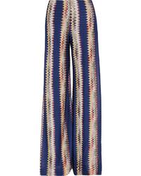 Pantalones anchos de crochet azul marino de Missoni