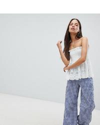 Pantalones anchos de cuadro vichy azules