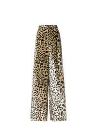 Pantalones anchos de cuero marrón claro