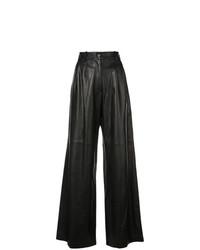 Pantalones anchos de cuero negros de Nili Lotan