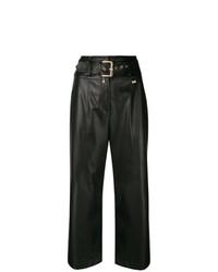 Pantalones anchos de cuero negros de Patrizia Pepe
