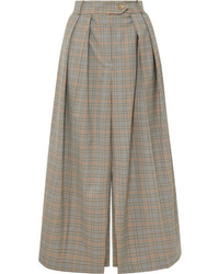 Pantalones anchos de lana a cuadros marrón claro de A.W.A.K.E.