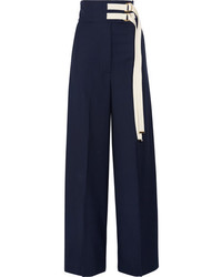Pantalones anchos de lana azul marino de Marni