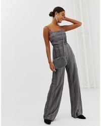 Pantalones anchos de lana de rayas verticales grises de Miss Selfridge