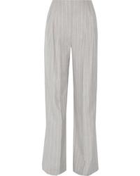 Pantalones anchos de lana de rayas verticales grises de Protagonist