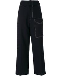 Pantalones anchos de lana negros de Joseph