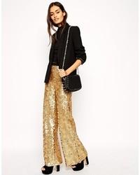 Pantalones anchos de lentejuelas dorados de Asos
