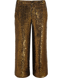 Pantalones anchos de lentejuelas dorados de J.Crew