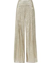 Pantalones anchos de lentejuelas dorados de Oscar de la Renta