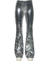 Pantalones anchos de lentejuelas plateados