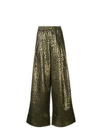 Pantalones anchos de leopardo dorados de Layeur