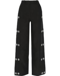 Pantalones anchos de lino con adornos negros de Loewe