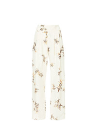 Pantalones anchos de lino estampados en beige de Matin