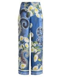 Pantalones anchos de paisley azules de Holzweiler