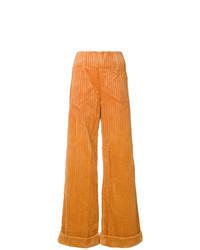 Pantalones anchos de pana naranjas