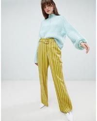 Pantalones anchos de rayas verticales amarillos de ASOS DESIGN