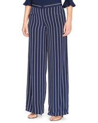 Pantalones anchos de rayas verticales azul marino