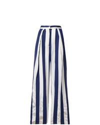 Pantalones anchos de rayas verticales azul marino de Aspesi