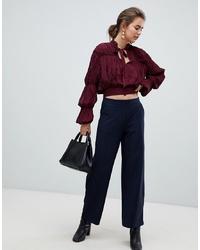 Pantalones anchos de rayas verticales azul marino de B.young