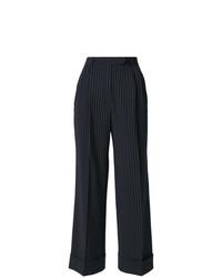 Pantalones anchos de rayas verticales azul marino de John Galliano Vintage