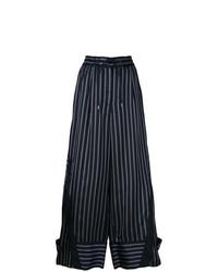 Pantalones anchos de rayas verticales azul marino de Sacai