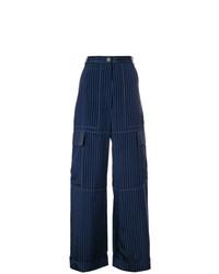 Pantalones anchos de rayas verticales azul marino de Sonia Rykiel