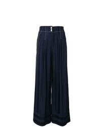 Pantalones anchos de rayas verticales azul marino de Temperley London