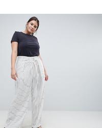 Pantalones anchos de rayas verticales blancos de ASOS WHITE