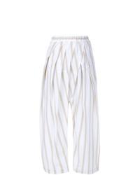 Pantalones anchos de rayas verticales blancos de Marni