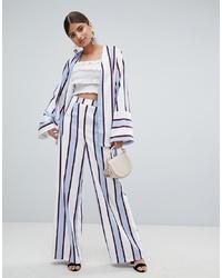 Pantalones anchos de rayas verticales celestes de Missguided