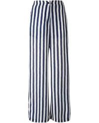 Pantalones anchos de rayas verticales en azul marino y blanco