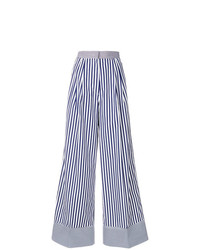 Pantalones anchos de rayas verticales en azul marino y blanco de Rossella Jardini