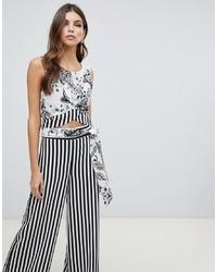 Pantalones anchos de rayas verticales en blanco y negro de Forever Unique