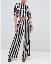 Pantalones anchos de rayas verticales en blanco y negro de Missguided