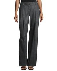 Pantalones anchos de rayas verticales en gris oscuro
