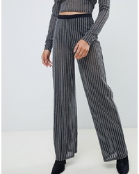 Pantalones anchos de rayas verticales en gris oscuro de ASOS DESIGN