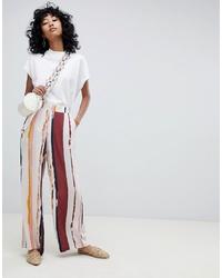 Pantalones anchos de rayas verticales en multicolor de Ichi