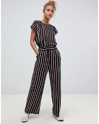 Pantalones anchos de rayas verticales negros de Blend She