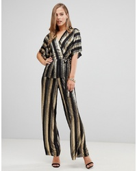 Pantalones anchos de rayas verticales negros de Flounce London