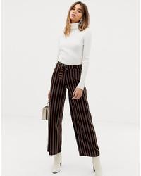 Pantalones anchos de rayas verticales negros de Pieces