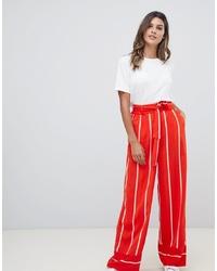 Pantalones anchos de rayas verticales rojos de Y.a.s