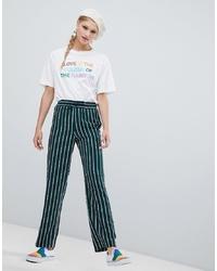 Pantalones anchos de rayas verticales verde oscuro de Monki