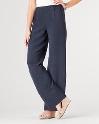 Pantalones anchos de seda azul marino