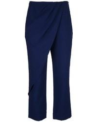 Pantalones anchos de seda azul marino de Anne Valerie Hash