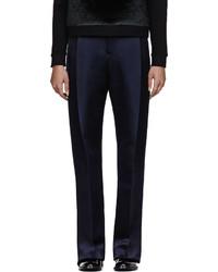 Pantalones anchos de seda azul marino de Christopher Kane