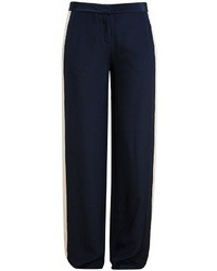 Pantalones anchos de seda azul marino de Diane von Furstenberg